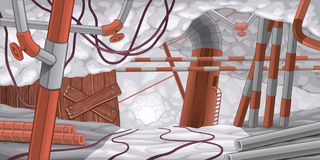 Escena con los tubos y los cables, subterráneos. stock de ilustración