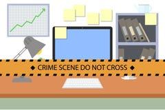 Escena criminal No cruce la línea de policía stock de ilustración