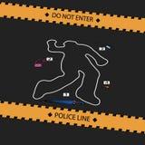 Escena criminal No cruce la línea de policía ilustración del vector