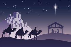 Escena cristiana de la natividad de la Navidad stock de ilustración