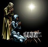 Escena cristiana de la natividad de la Navidad ilustración del vector