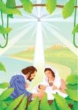Escena cristiana de la natividad de la Navidad con el bebé Jesús y ángeles Imagenes de archivo