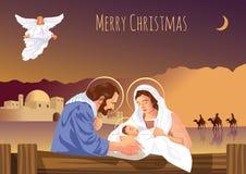 Escena cristiana de la natividad de la Navidad con el bebé Jesús y ángeles Foto de archivo libre de regalías