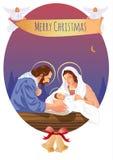 Escena cristiana de la natividad de la Navidad con el bebé Jesús y ángeles Imagen de archivo libre de regalías