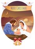 Escena cristiana de la natividad de la Navidad con el bebé Jesús y ángeles Imágenes de archivo libres de regalías