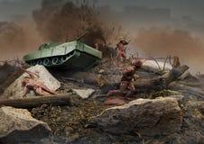 Escena de batalla de los soldados de juguete Imagen de archivo