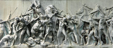 Escena de batalla en el monumento Foto de archivo libre de regalías