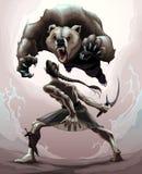 Escena de batalla entre un duende y un oso enojado ilustración del vector