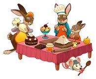 Escena de cocinar divertida con los conejos que hacen los dulces libre illustration