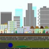 Escena de dos dimensiones de la ciudad Foto de archivo libre de regalías