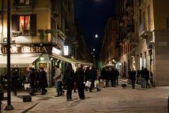 Escena de la calle de Brera, Milán, Italia Fotografía de archivo