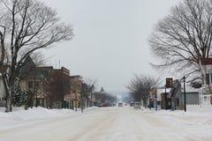 Escena de la calle de Francfort Michigan del invierno Fotografía de archivo