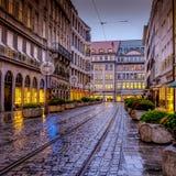 Escena de la calle del invierno de Munich imágenes de archivo libres de regalías