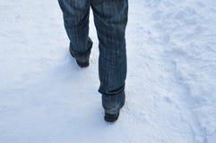 Escena de la calle del invierno que camina en nieve Imagenes de archivo