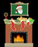 Escena de la chimenea de la Navidad Imágenes de archivo libres de regalías