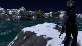 Escena de la ciencia ficción de la colonia del espacio Foto de archivo libre de regalías