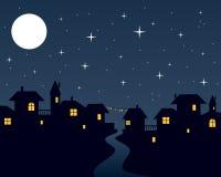 Escena de la ciudad de la noche de la Navidad Fotografía de archivo libre de regalías