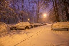 Escena de la ciudad del invierno de la noche Fotografía de archivo