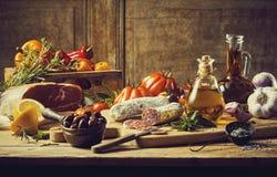 Escena de la comida de Stillife Fotos de archivo libres de regalías