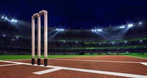 Escena de la echada del grillo de la noche con brillo móvil del proyector y el primer de madera de los wicketes
