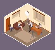 Escena de la entrevista el Hombre-patrón emplea un atractivo stock de ilustración