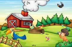 Escena de la granja ilustración del vector