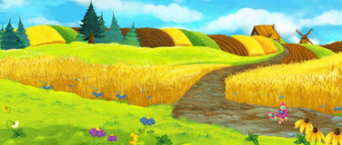 Escena de la granja de la historieta - escena del verano Fotos de archivo libres de regalías