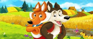 Escena de la granja de la historieta - escena del verano - con el lobo y el zorro en los campos de granja Foto de archivo libre de regalías