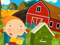 Escena de la granja de la historieta - muchacho que corre cerca de las colmenas Foto de archivo libre de regalías