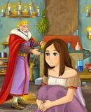 Escena de la historieta con el rey feliz en cocina del castillo que habla con la señora joven hermosa libre illustration
