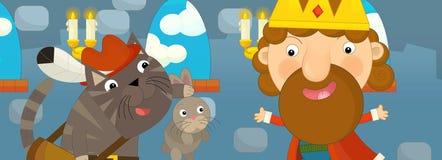 Escena de la historieta con el rey y el gato que sostienen el conejo Fotos de archivo libres de regalías
