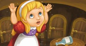 Escena de la historieta con la muchacha muy grande en sitio demasiado pequeño cerca de la tabla con llave y de la botella en ella libre illustration