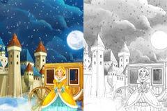 Escena de la historieta con la princesa o la reina - para un cierto cuento de hadas - castillo y carro hermosos en la muchacha he Foto de archivo libre de regalías