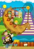 Escena de la historieta con los niños que juegan en el funfair Fotos de archivo