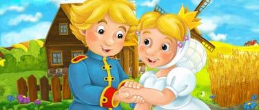 Escena de la historieta con los pares reales jovenes en la granja Foto de archivo