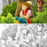 Escena de la historieta con un jinete que descansa en el bosque - con la página del colorante Foto de archivo libre de regalías