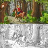 Escena de la historieta con un montar a caballo del jinete a través del bosque al desconocido - con la página del colorante Foto de archivo libre de regalías