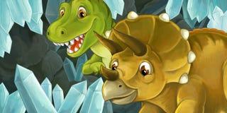 escena de la historieta de la cueva con los cristales y los dinosaurios grandes para diverso uso Fotos de archivo libres de regalías