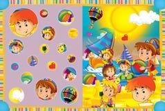 Escena de la historieta de los niños que juegan en el funfair - niños en el patio Fotos de archivo