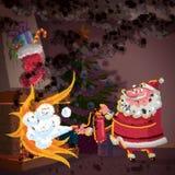Escena de la historieta de Santa Claus que intenta controlar el fuego en chimenea Fotos de archivo libres de regalías