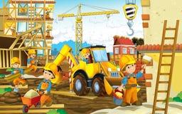 Escena de la historieta de un emplazamiento de la obra con las diversos máquinas y trabajadores pesados