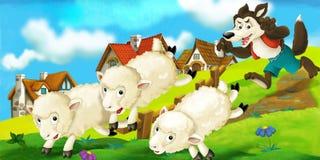 Escena de la historieta de un lobo que intenta robar una oveja de la manada