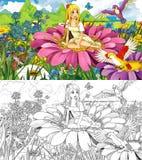 Escena de la historieta del cuento de hadas con una muchacha del duende en la flor stock de ilustración