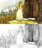 Escena de la historieta del cuento de hadas con una muchacha y la casa en el árbol stock de ilustración