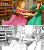 Escena de la historieta para diversos cuentos de hadas - dos hermanas sea nervioso y preocupante - con la página adicional del co Fotografía de archivo