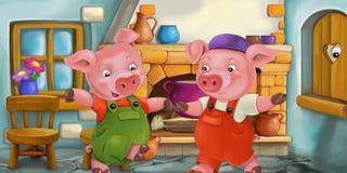Escena de la historieta de un cerdo en la cocina y del ojo de observación en la ventana de madera