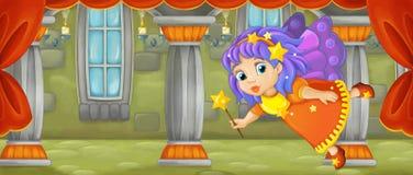 Escena de la historieta - vuelo de hadas minúsculo hermoso en el cuarto del castillo stock de ilustración