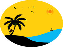 Escena de la isla con la palmera y el mono en puesta del sol Imagenes de archivo