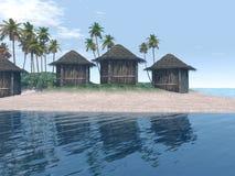 Escena de la isla con las chozas y las palmeras Imagen de archivo libre de regalías