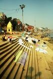 Escena de la mañana en el río de Ganges Imagen de archivo